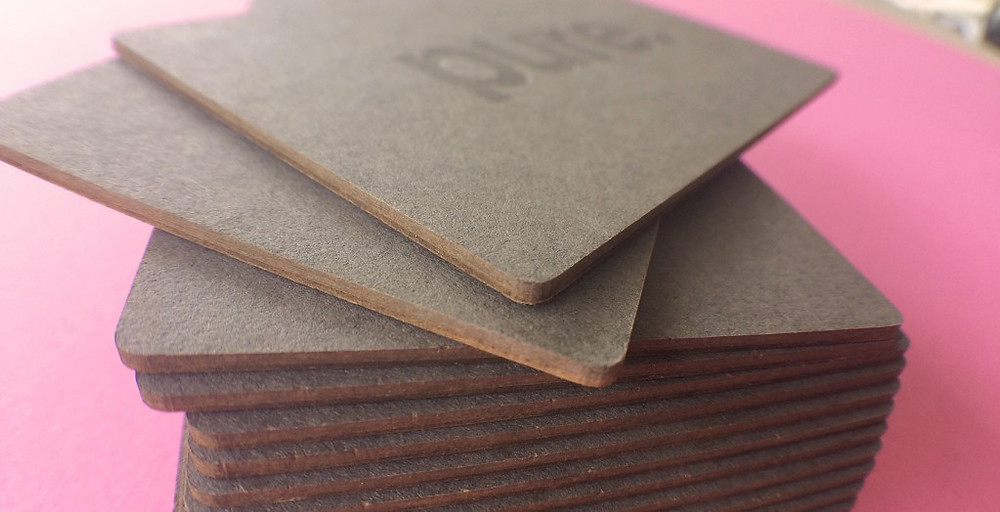 Pure Interiors laser cut and letterpress business card