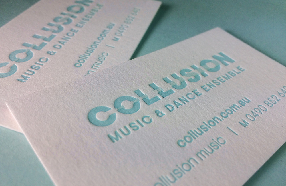 Collusion Music and Dance Ensemble Letterpress Business Cards