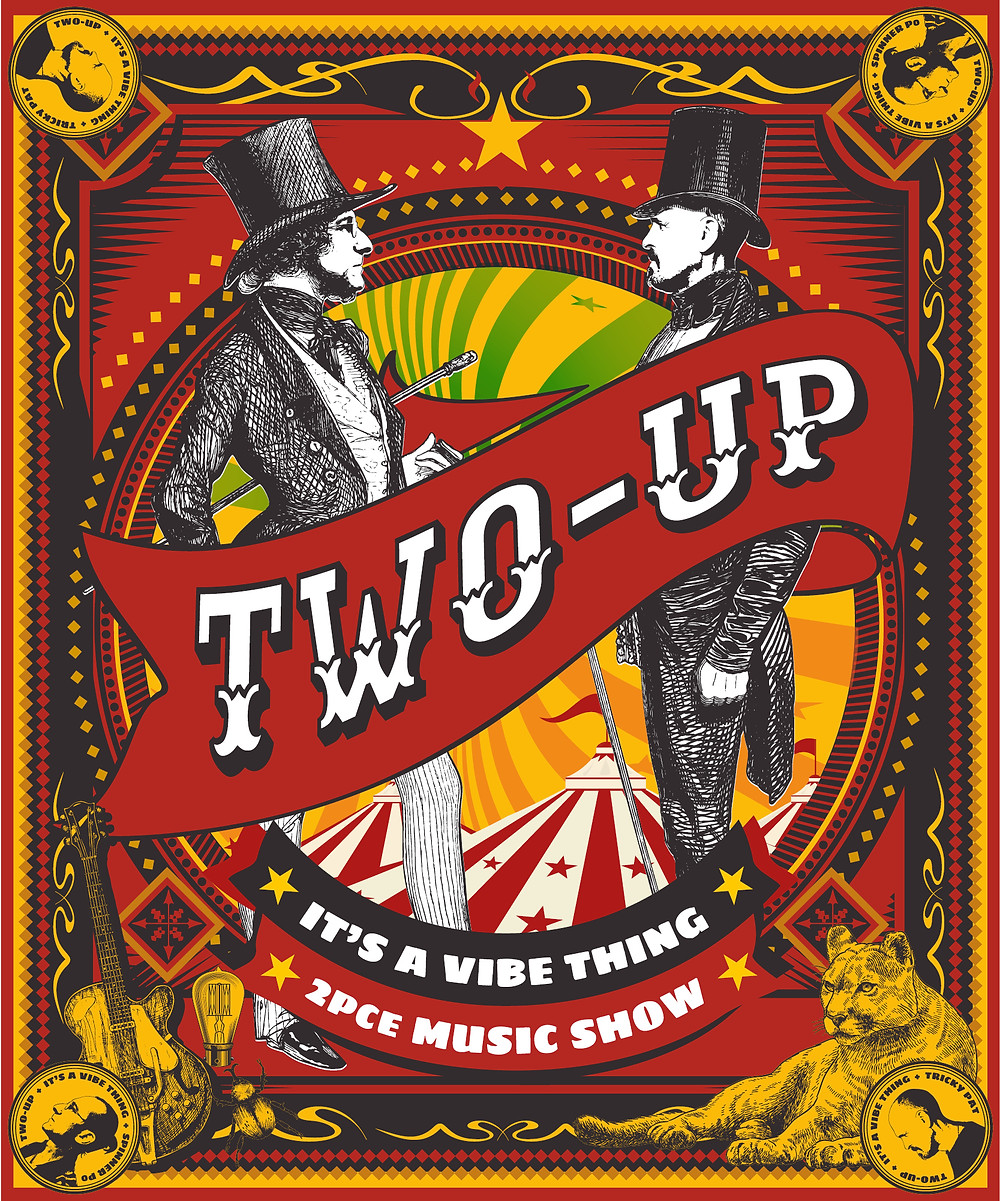 Two-Up Music Show vintage poster design