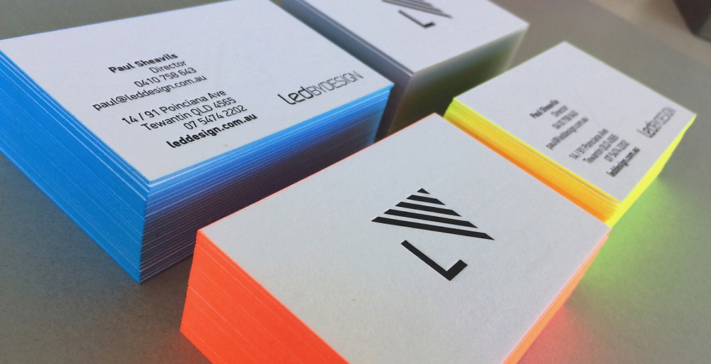 Fluoro edge painted letterpress business cards