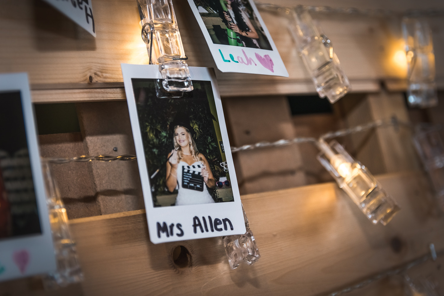 Personalised decorations at a wedding reception at The Potting Shed, Beverley.