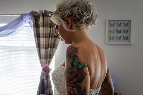 A bride taking a moment to herself before her wedding.