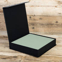 A wedding album storage box is shown in this photograph.