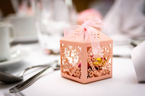 A wedding favour on a table in The Villiage Hotel, Hessle.
