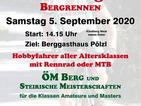 Kindberger Bergrennen am 5.9 inkl. U13-u15 Rad Nachwuchstrophy 2020