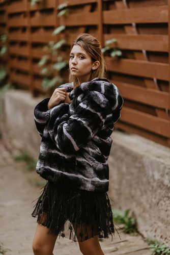 Пальто из кролика орилаг, крашение шинши
