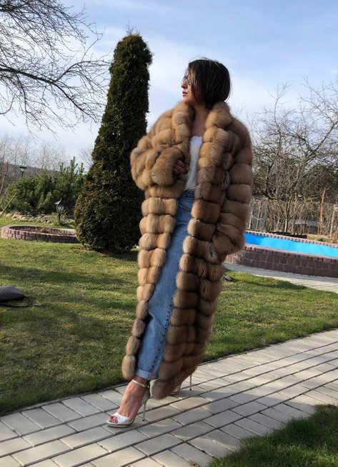 Пальто из лесной куницы, росшив замша