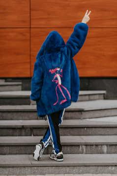 Куртка из норки, инкрустация розовая Пантера