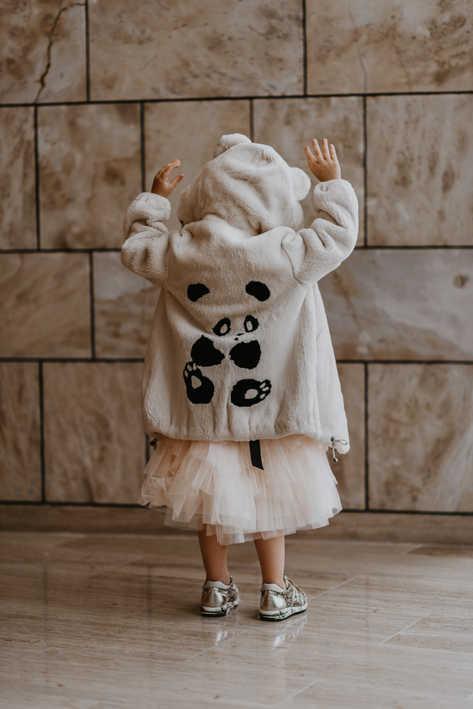 Пальто из стриженного бобра, инкрустация Панда