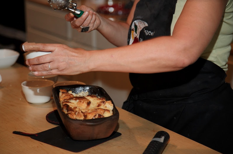 Scooping bread pudding