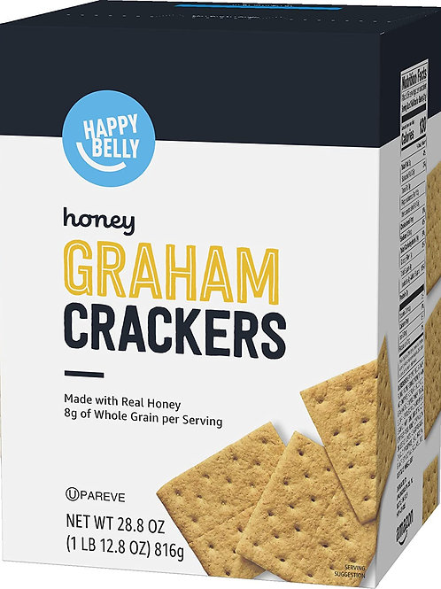 Roll over image to zoom in Amazon Brand - Happy Belly Honey Graham Crackers, 28.