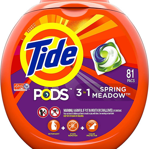 Tide Pods 3 in 1, Laundry Detergent Pacs, Spring Meadow Scent, 81 Count