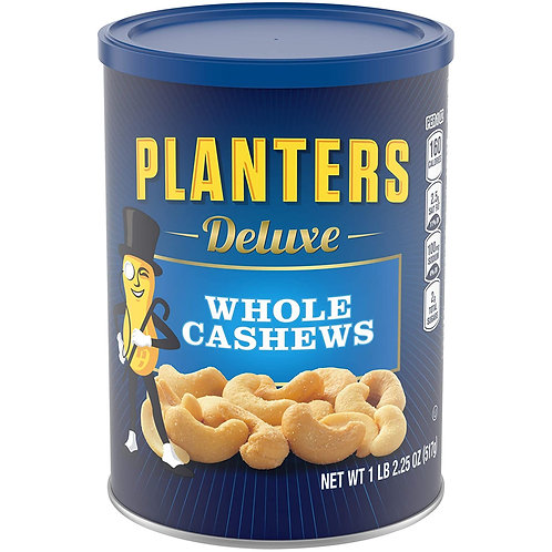 PLANTERS Deluxe Whole Cashews, 18.25 oz. Resealable Jar - Wholesome Snack Roaste