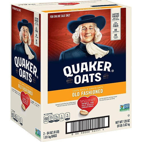 Quaker Old Fashioned Rolled Oats, Non GMO Project Verified, Two 64oz Bags in Box