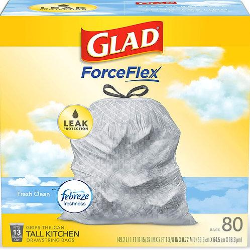 Glad ForceFlex Tall Kitchen Drawstring Trash Bags – 13 Gallon Trash Bag, Fresh
