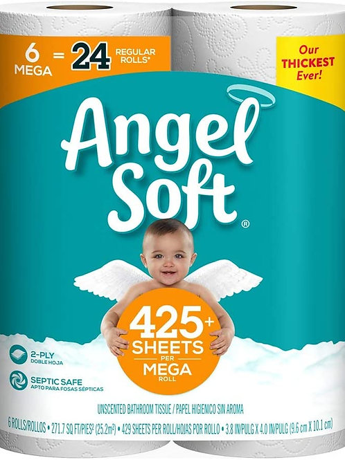 Angel Soft, Toilet Paper, Mega Rolls, 6 Count of 425+ 2-Ply Sheets Per Roll