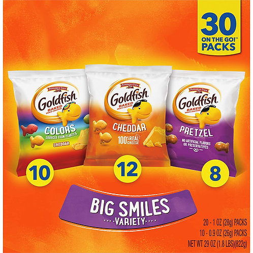 Pepperidge Farm Goldfish Classic Mix Crackers, Variety Pack Box, 30-count Snack