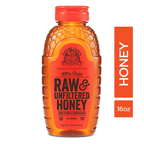 Nature Nate's 100% Pure, Raw & Unfiltered Honey; 16oz. Squeeze Bottle; Award-Win