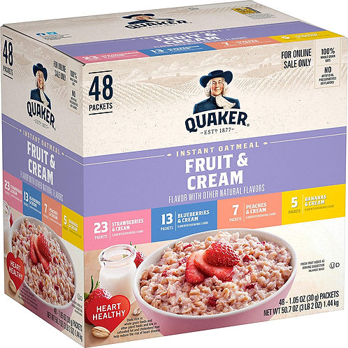 Quaker Instant Oatmeal, Fruit and Cream 4 Flavor Variety Pack, Individual Packe