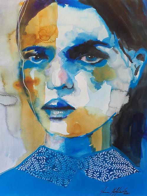 Girl in blue mood