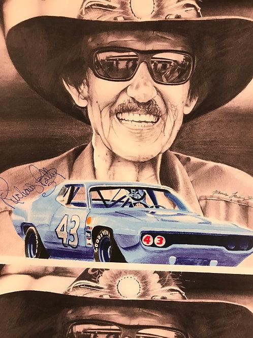 Richard Petty hand drawn print