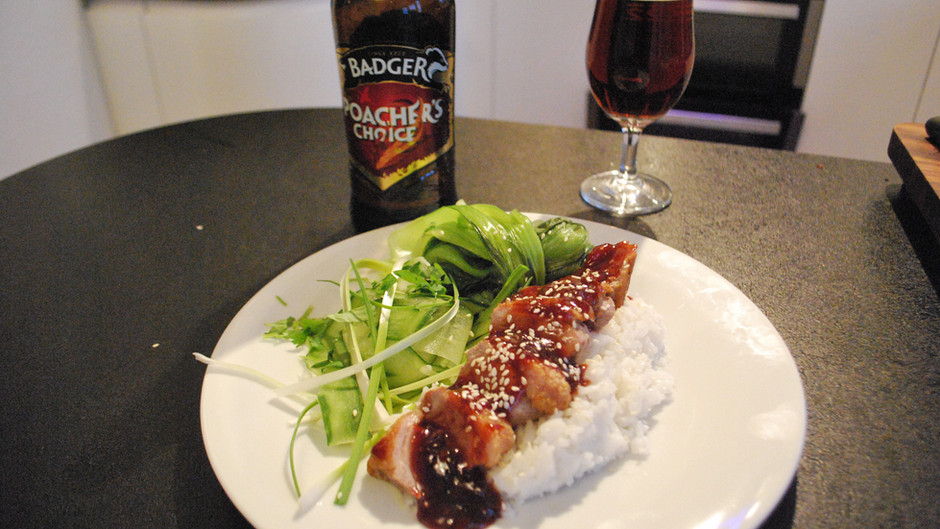 Duck in Poachers Choice Plum Sauce with Pak Choi, Spring Onions and Cucumber