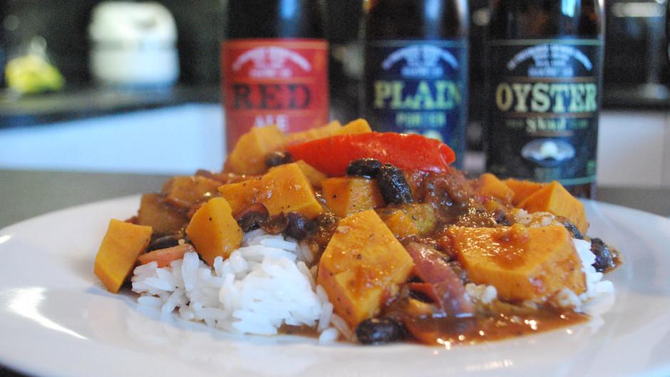 The Porterhouse Brewing Co Oyster Stout Butternut Squash, Sweet Potato and Black Bean Jerk Curry