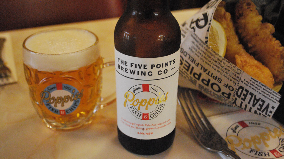 Five Points Brewing Co & Poppies Fish and Chips Poppies Pale Ale
