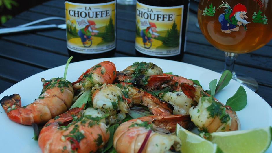 La Chouffe Chilli, Lime and Coriander Butter BBQ Tiger Prawns