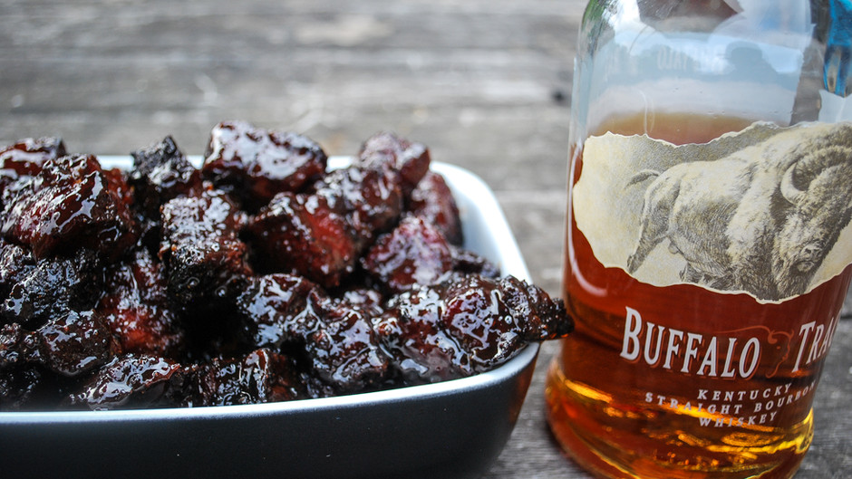 Buffalo Trace BBQ Pork Belly Burnt Ends