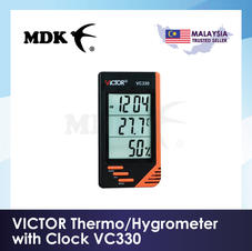 VICTOR Thermo/Hygrometer with Clock VC330