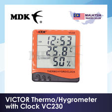 VICTOR Thermo/Hygrometer with Clock VC230