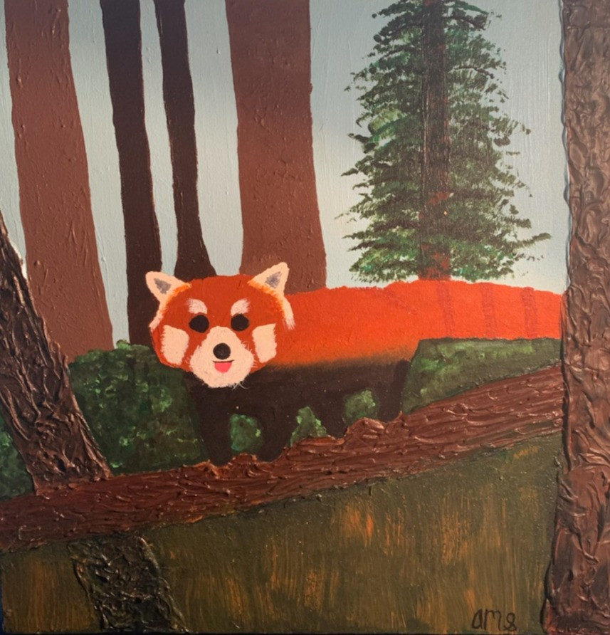 An acrylic painting of a red panda.