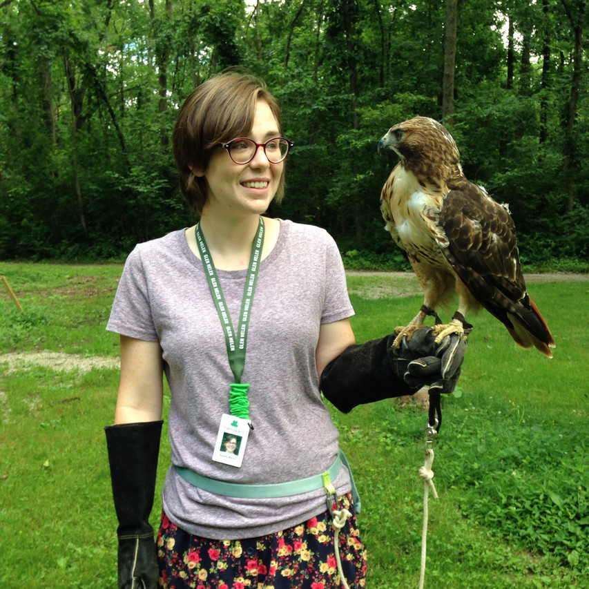 Kelsey and Helen, a red-tailed hawk