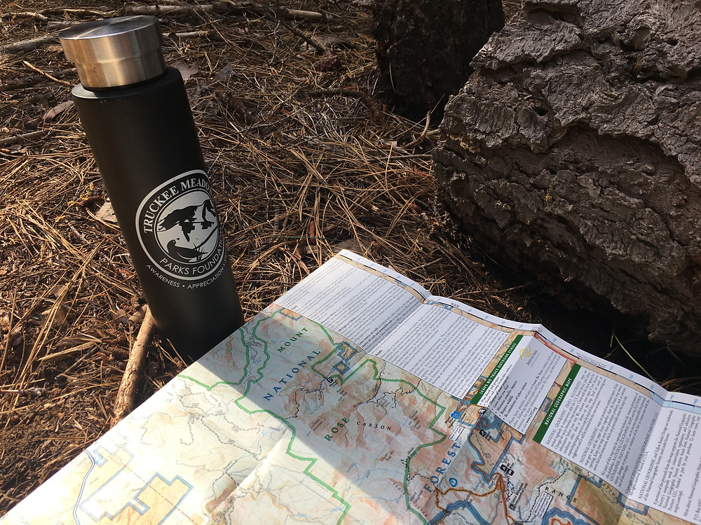 TMPF water bottle and map