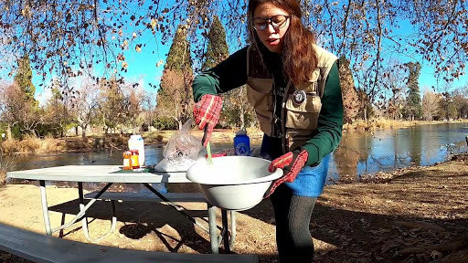A woman in the park stirs a steaming bowl
