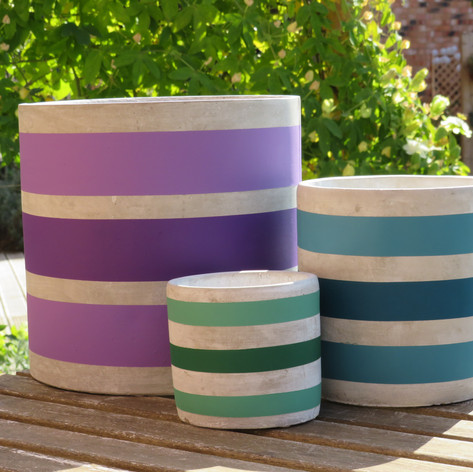 Stripe Pots in XLarge, Medium and Mini