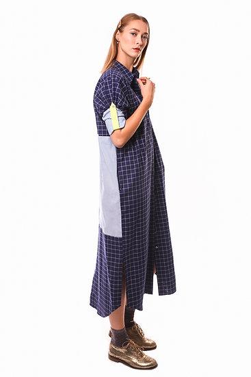 DUSK DRESS - Blue/white check with light blue shirt fabric