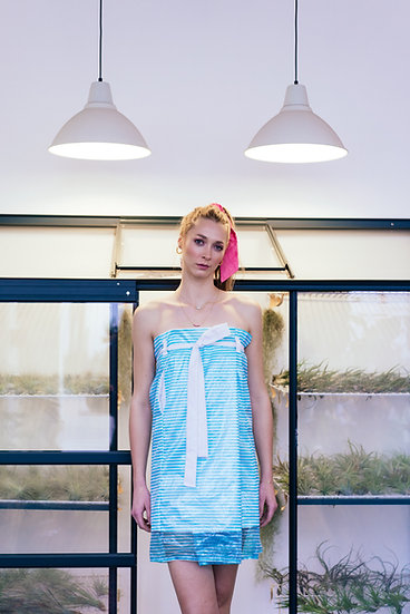 PROTEA SKIRT - Blue/white striped