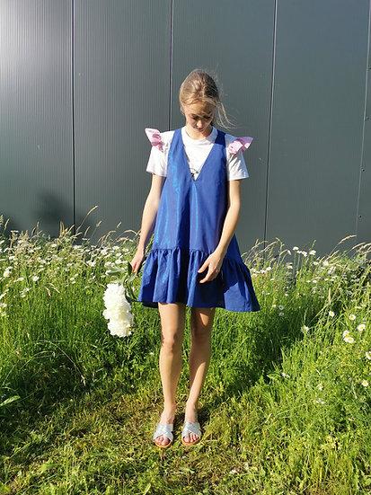 PEONY MINI DRESS - Iridescent blue