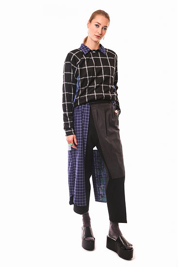 DEW TROUSERS - Grey/red checks - Made to order