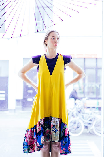 PEONY DRESS - Yellow with blue ruffle