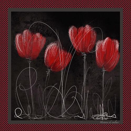 Foulard les tulipe rouges