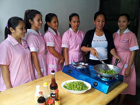 Myanmar Maids learning Cooking