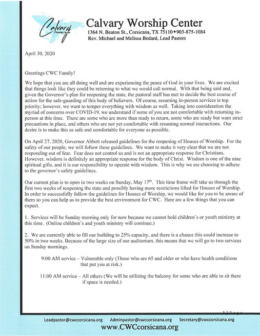 Letter to Congregants about Reopening In
