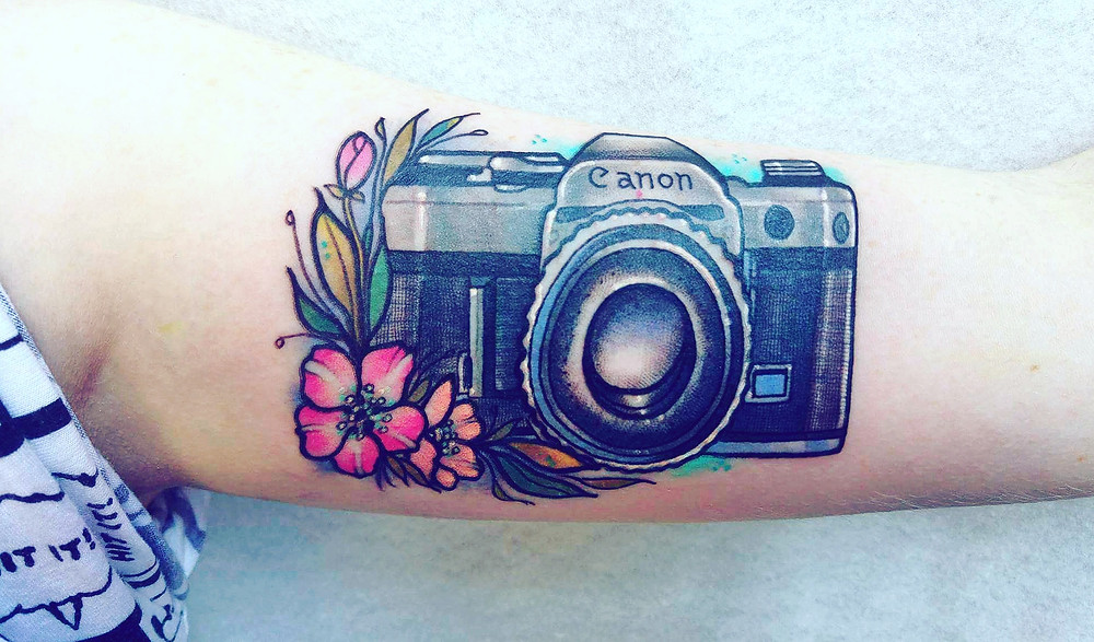 canon camera tattoo