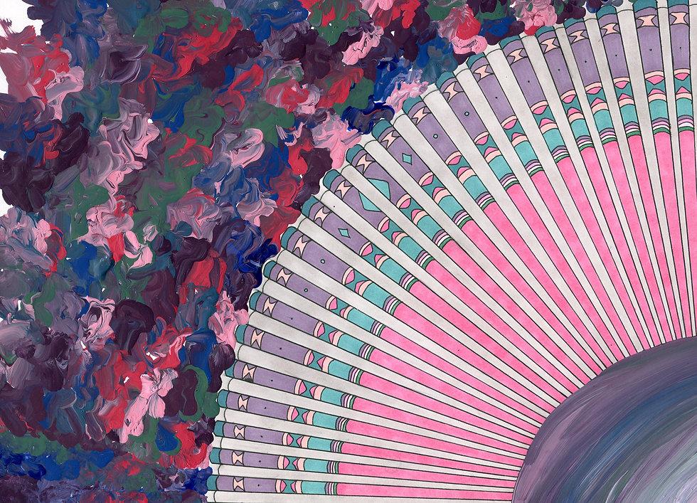 5. Fancy Feathers-Marker, Acrylic paint,