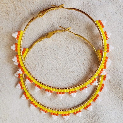 Candy Corn Gold Hoops