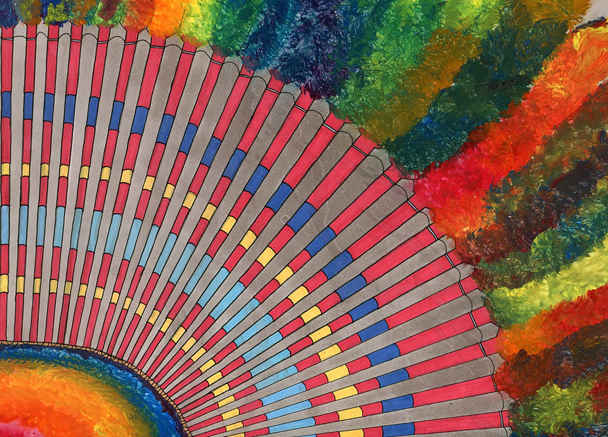 4. Fancy Feathers-Marker, Acrylic paint,