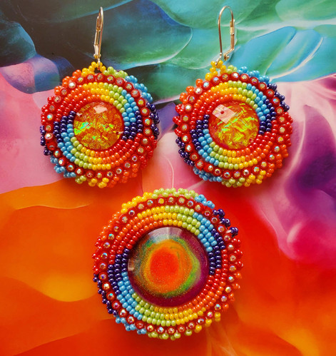 Rainbow Earrings with Matching Phone Grip